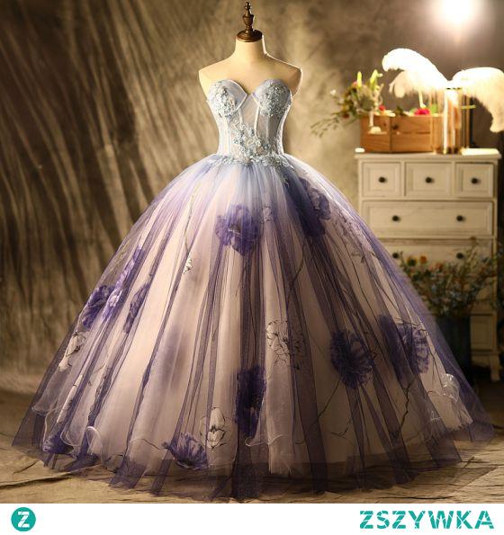 Piękne Wróżka Kwiatowa Fioletowe Cekinami Sukienki Na Bal 2021 Suknia Balowa Bez Ramiączek Frezowanie Z Koronki Kwiat Bez Rękawów Bez Pleców Długie Bal Sukienki Wizytowe