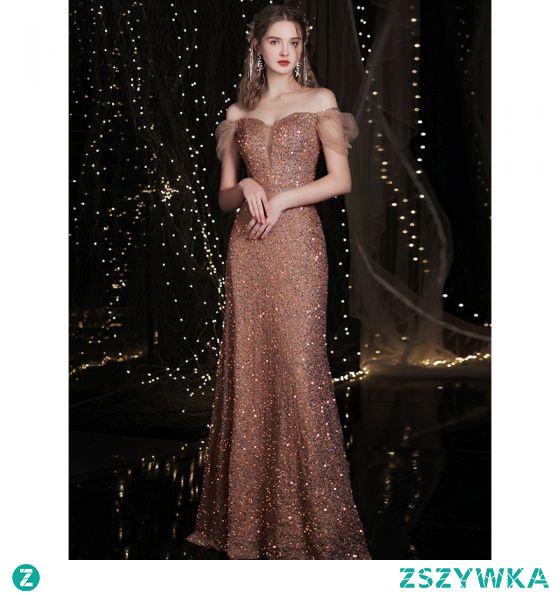 Błyszczące Różowe Złoto Cekinami Sukienki Wieczorowe 2021 Syrena / Rozkloszowane Przy Ramieniu Cekiny Kótkie Rękawy Bez Pleców Długie Wieczorowe Sukienki Wizytowe