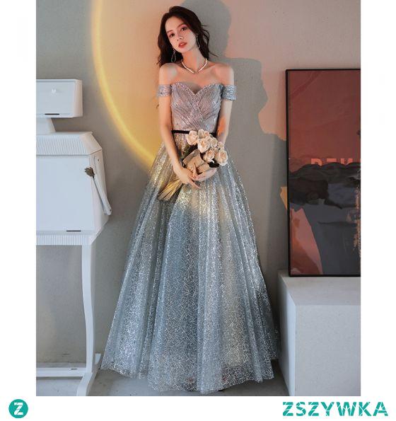 Błyszczące Srebrny Cekinami Cekiny Sukienki Na Bal 2021 Princessa Przy Ramieniu Frezowanie Perła Bez Rękawów Bez Pleców Długie Bal Sukienki Wizytowe