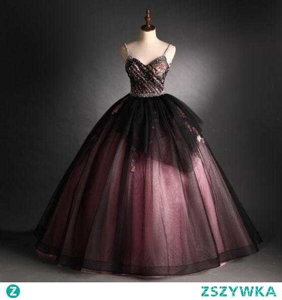 Eleganckie Czarne Czerwone Sukienki Na Bal 2021 Suknia Balowa Spaghetti Pasy Frezowanie Perła Cekiny Z Koronki Kwiat Bez Rękawów Bez Pleców Długie Sukienki Wizytowe