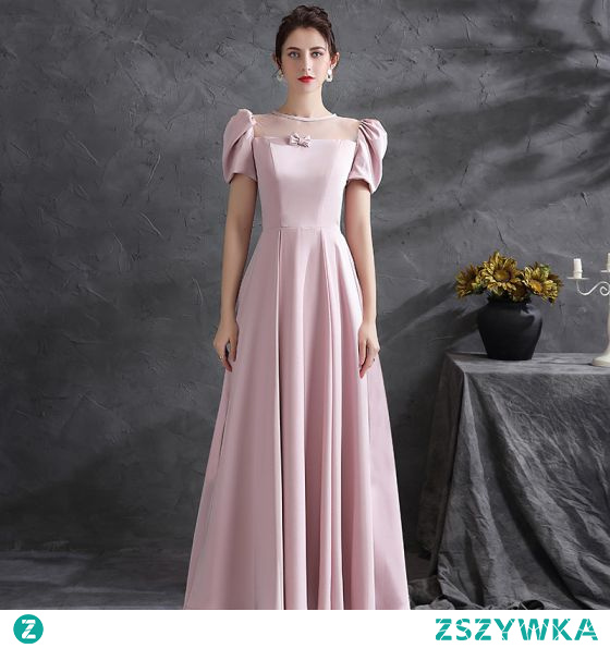 Eleganckie Rumieniąc Różowy Satyna Sukienki Na Bal 2021 Princessa Wycięciem Bez Pleców Kokarda Kótkie Rękawy Długie Bal Sukienki Wizytowe