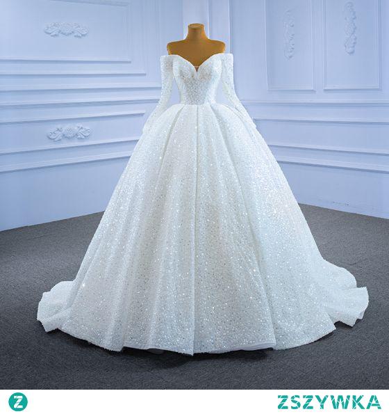 Luksusowe Kość Słoniowa Suknie Ślubne 2021 Suknia Balowa Kutas Perła Przy Ramieniu Frezowanie Cekiny Długie Rękawy Bez Pleców Trenem Sąd Ślub