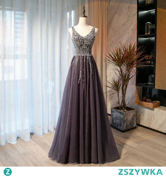 Piękne Fioletowe Sukienki Na Bal 2021 Princessa V-Szyja Frezowanie Cekiny Bez Rękawów Bez Pleców Długie Bal Sukienki Wizytowe