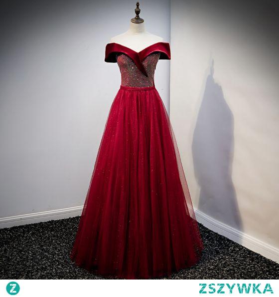 Eleganckie Cekinami Zamszowe Burgund Sukienki Na Bal 2021 Princessa Przy Ramieniu Rhinestone Kótkie Rękawy Bez Pleców Długie Bal Sukienki Wizytowe