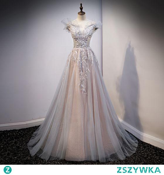 Piękne Szary Sukienki Wieczorowe Sukienki Na Bal 2021 Princessa Przy Ramieniu Frezowanie Cekiny Z Koronki Kwiat Bez Rękawów Bez Pleców Trenem Sweep Wieczorowe Bal Sukienki Wizytowe