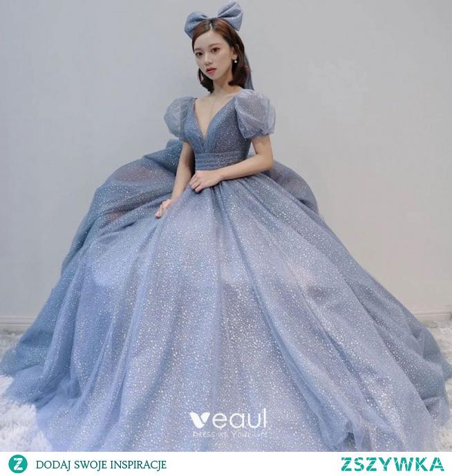 Śliczny Vintage Niebieskie Sukienki Na Bal 2021 Princessa Głęboki V-Szyja Cekiny Kótkie Rękawy Długie Bal Sukienki Wizytowe