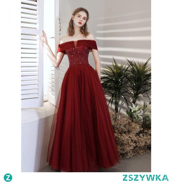 Piękne Burgund Sukienki Na Bal 2021 Princessa Przy Ramieniu Frezowanie Kryształ Cekiny Kótkie Rękawy Bez Pleców Długie Bal Sukienki Wizytowe