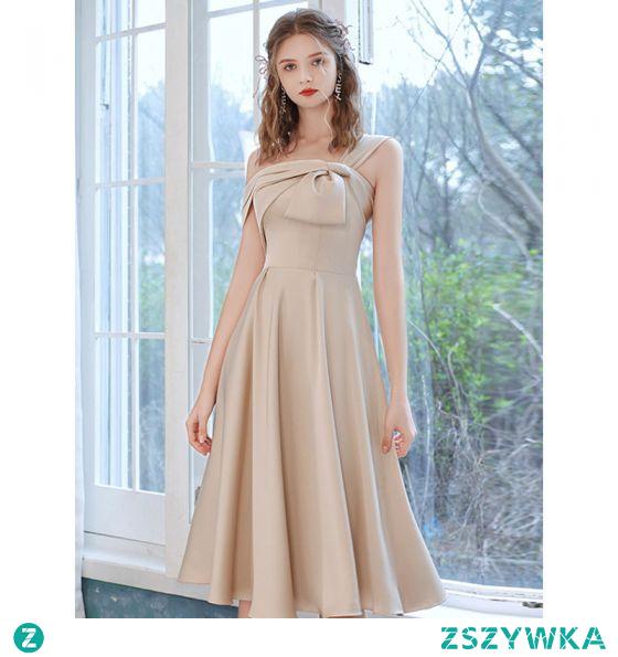 Moda Szampan Satyna Homecoming Sukienki Na Studniówke 2021 Princessa Jedno Ramię Kokarda Kótkie Rękawy Bez Pleców Długość Herbaty Sukienki Wizytowe