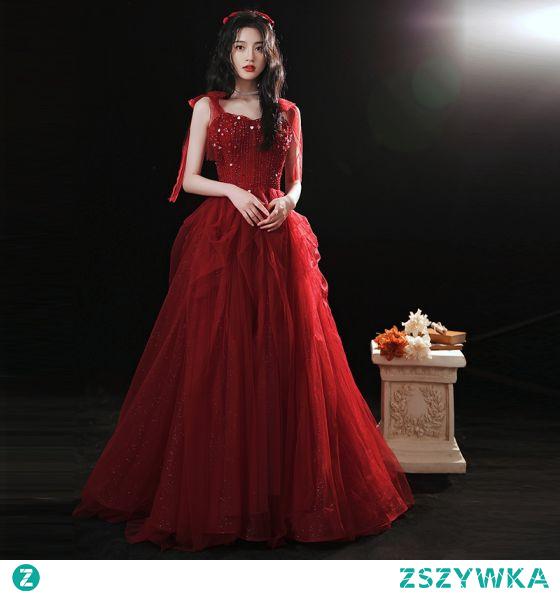Uroczy Burgund Sukienki Na Bal 2021 Princessa Spaghetti Pasy Kokarda Frezowanie Cekiny Bez Rękawów Bez Pleców Długie Bal Sukienki Wizytowe