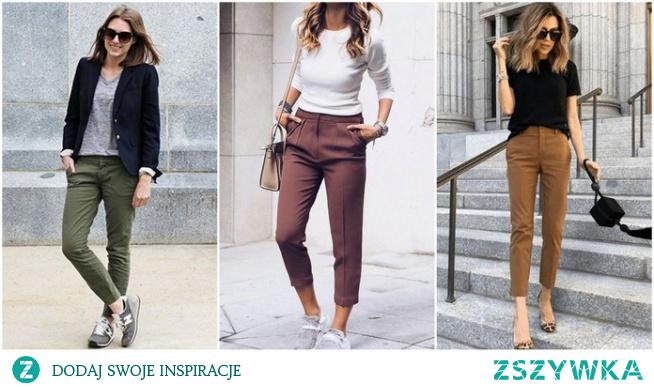 Wiosenne stylizacje ze spodniami chino
