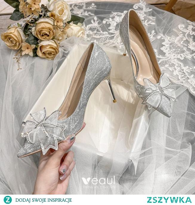 Błyszczące Srebrny Rhinestone Kokarda Buty Ślubne 2021 Cekiny 8 cm Szpilki Szpiczaste Ślub Czółenka Wysokie Obcasy