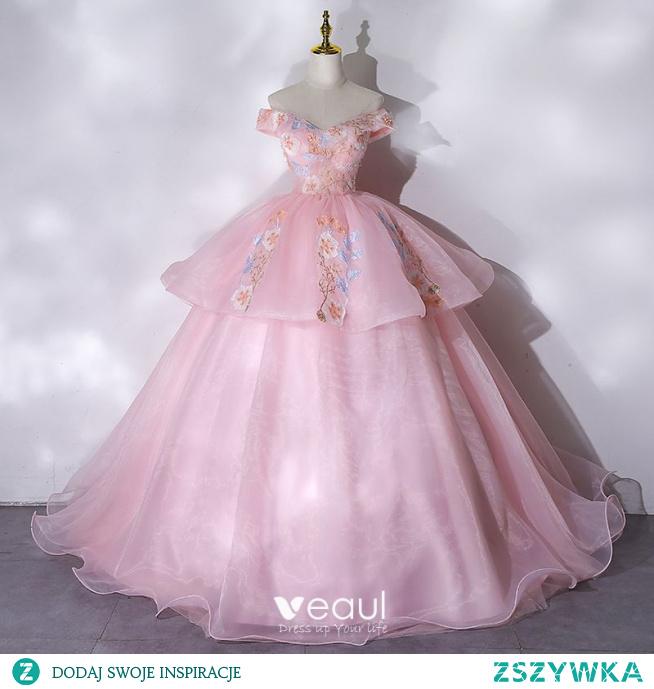 Eleganckie Cukierki Różowy Sukienki Na Bal 2021 Suknia Balowa Przy Ramieniu Frezowanie Perła Rhinestone Z Koronki Kwiat Bez Rękawów Bez Pleców Długie Bal Sukienki Wizytowe