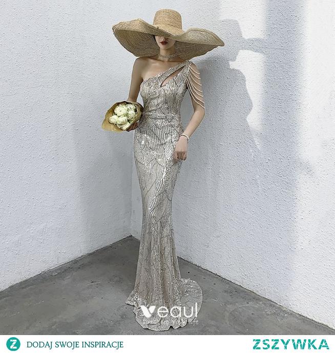 Błyszczące Srebrny Sukienki Wieczorowe 2021 Syrena / Rozkloszowane Jedno Ramię Frezowanie Cekiny Bez Rękawów Bez Pleców Długie Wieczorowe Sukienki Wizytowe