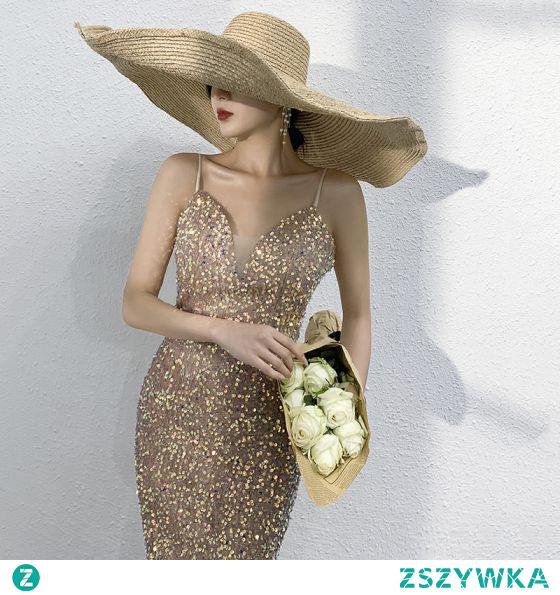 Seksowne Błyszczące Złote Frezowanie Cekiny Sukienki Wieczorowe 2021 Syrena / Rozkloszowane Spaghetti Pasy Bez Rękawów Bez Pleców Długie Wieczorowe Sukienki Wizytowe