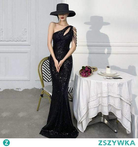 Seksowne Błyszczące Czarne Cekiny Sukienki Wieczorowe 2021 Syrena / Rozkloszowane Jedno Ramię Frezowanie Bez Rękawów Bez Pleców Długie Wieczorowe Sukienki Wizytowe