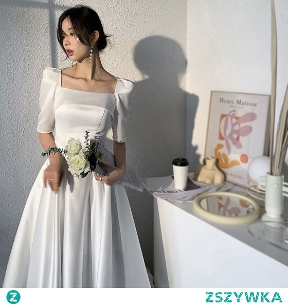 Proste / Simple Kość Słoniowa Satyna Homecoming Sukienki Na Studniówke 2021 Princessa Kwadratowy Dekolt 1/2 Rękawy Długość Herbaty Sukienki Wizytowe