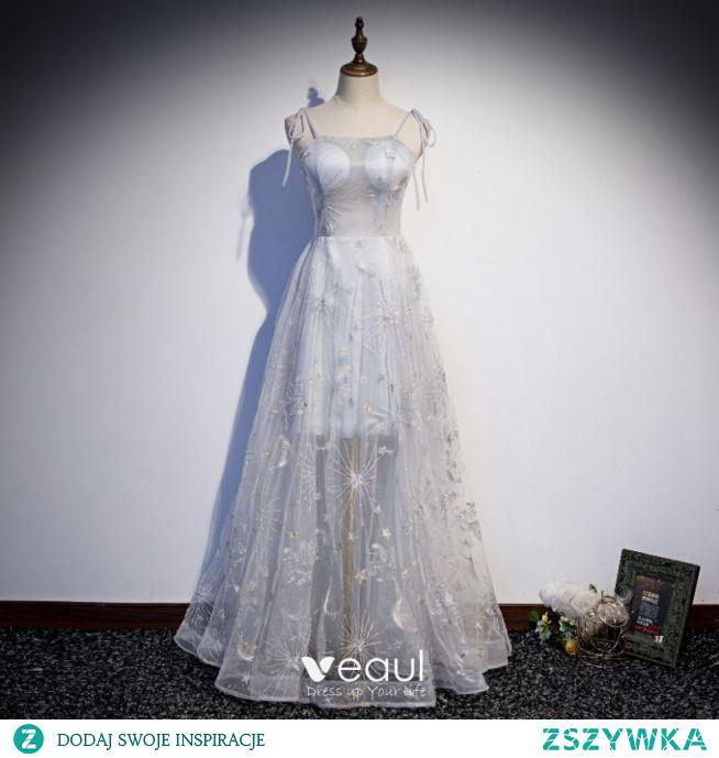 Eleganckie Szary Z Koronki Sukienki Na Bal Princessa 2021 Bez Rękawów Spaghetti Pasy Bez Pleców Długie Bal Sukienki Wizytowe