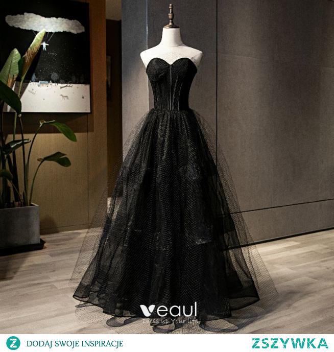 Piękne Czarne Sukienki Wieczorowe 2021 Princessa Kochanie Bez Rękawów Bez Pleców Długie Wieczorowe Sukienki Wizytowe