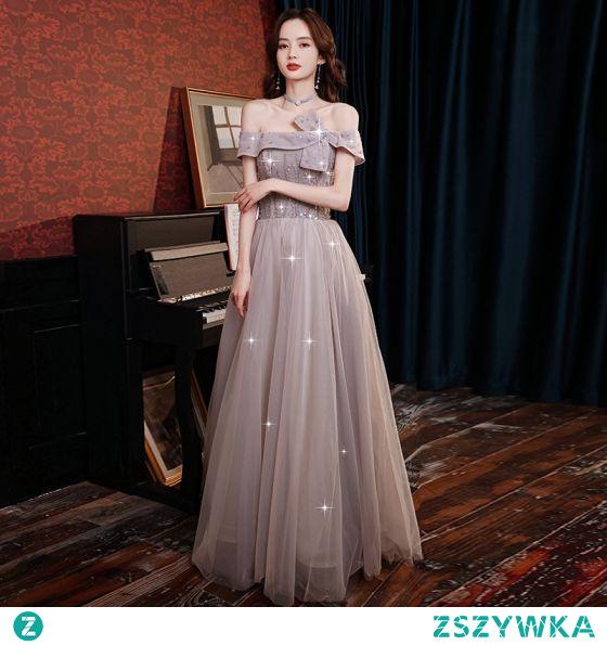 Uroczy Lawenda Fioletowe Sukienki Wieczorowe 2021 Princessa Kokarda Przy Ramieniu Frezowanie Rhinestone Cekiny Kótkie Rękawy Bez Pleców Długie Wieczorowe Sukienki Wizytowe