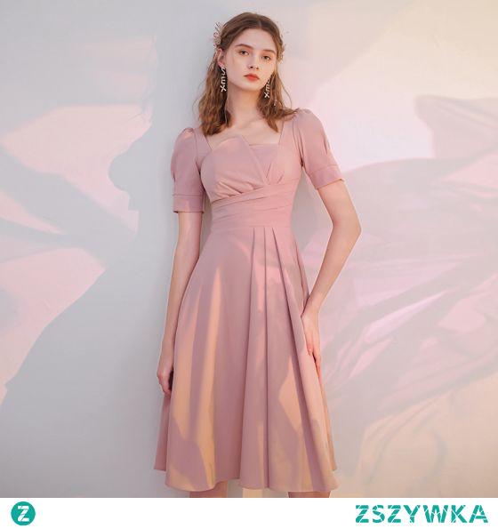 Proste / Simple Rumieniąc Różowy Homecoming Sukienki Na Studniówke 2021 Princessa Kwadratowy Dekolt Kótkie Rękawy Długość Herbaty Sukienki Wizytowe