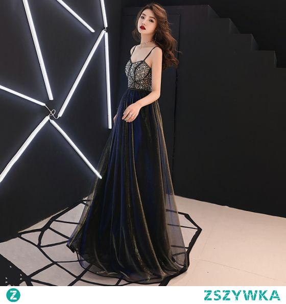 Seksowne Czarne Rhinestone Cekiny Sukienki Na Bal 2021 Princessa Spaghetti Pasy Bez Rękawów Bez Pleców Długie Wieczorowe Sukienki Wizytowe