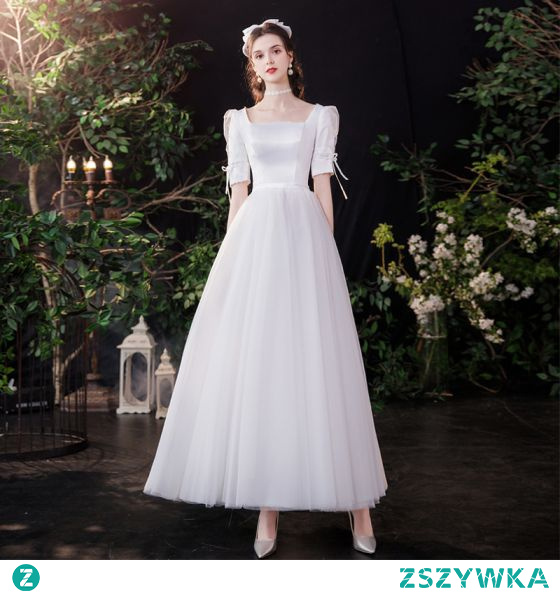 Proste / Simple Eleganckie Kość Słoniowa Satyna Suknie Ślubne 2021 Princessa Perła Kwadratowy Dekolt 1/2 Rękawy Bez Pleców Kokarda Długie Ślub