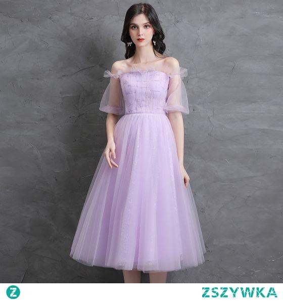 Proste / Simple Lawenda Homecoming Sukienki Na Studniówke 2021 Princessa Przy Ramieniu Perła Kótkie Rękawy Bez Pleców Długość Herbaty Sukienki Wizytowe