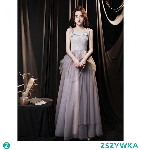 Elegancka Ciemny Róż Sukienki Na Bal 2021 Princessa Spaghetti Pasy Kokarda Bez Rękawów Bez Pleców Długie Bal Sukienki Wizytowe