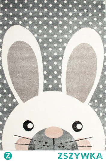 Szary dywan dziecięcy z królikiem