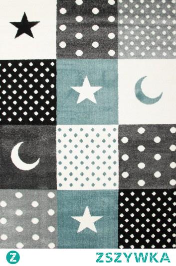 Dywan patchwork gwiazdki niebieski