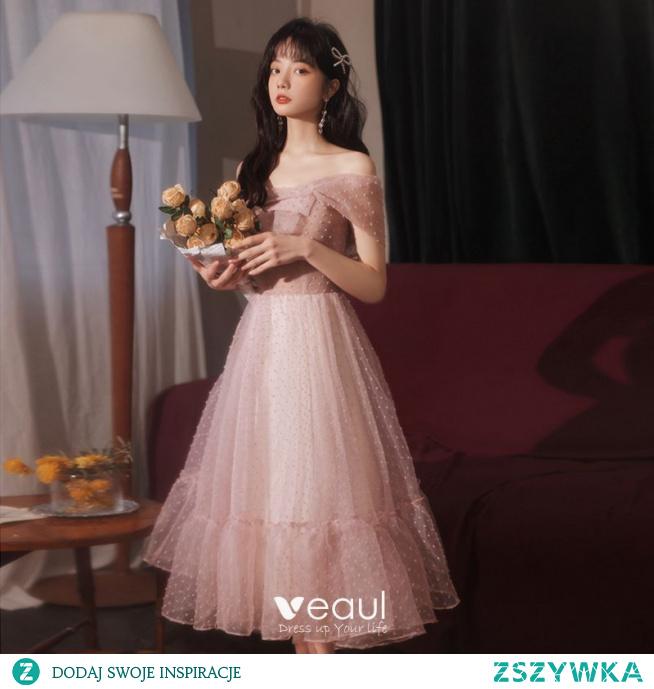 Proste / Simple Ciemny Róż Sukienki Na Studniówke 2021 Princessa Homecoming Jedno Ramię Bez Rękawów Bez Pleców Długie Sukienki Wizytowe
