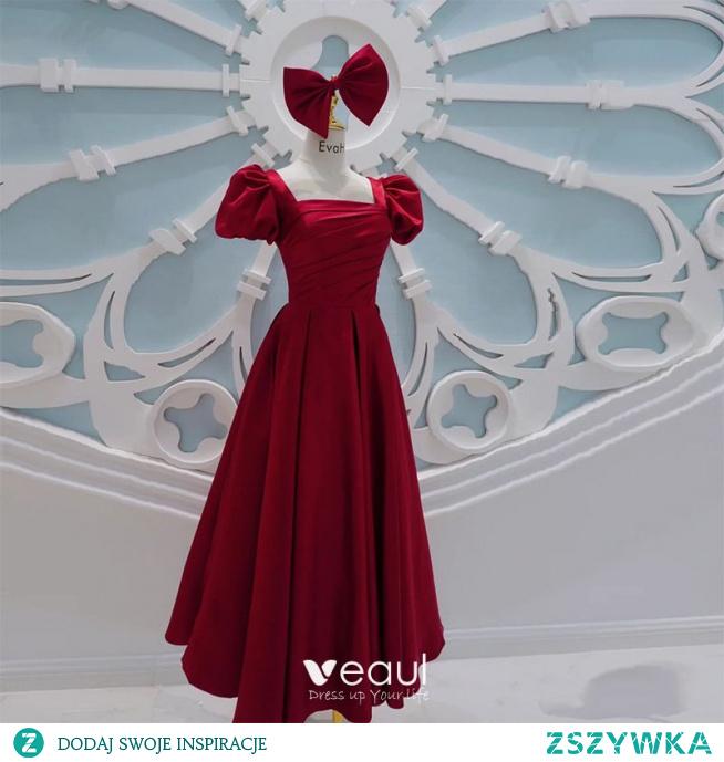 Vintage Śliczny Burgund Sukienki Na Bal 2021 Skrzyżowane Pasy Kokarda Długie Satyna Kwadratowy Dekolt Bal Kótkie Rękawy Sukienki Wizytowe Princessa