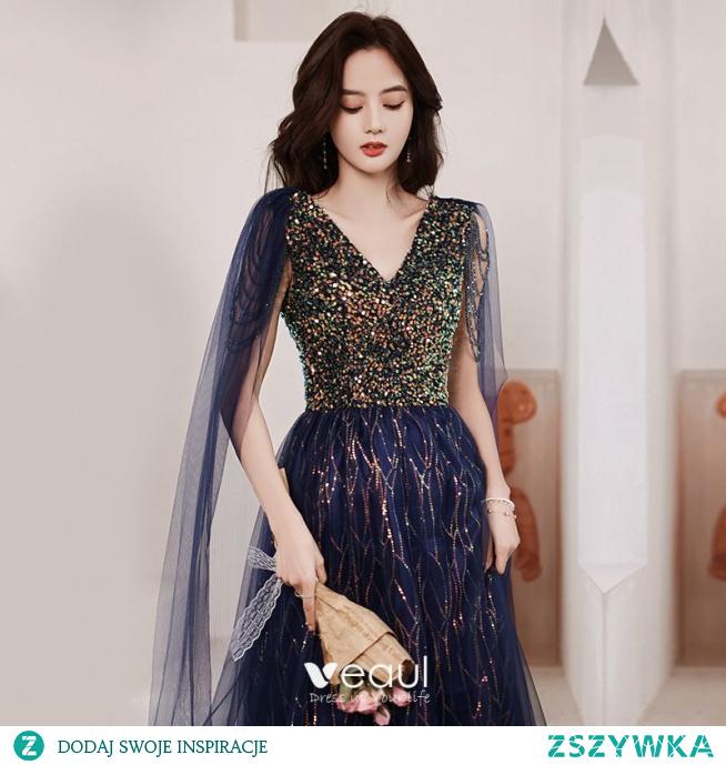 Błyszczące Granatowe Sukienki Wieczorowe 2021 Princessa V-Szyja Frezowanie Kryształ Cekiny Kutas Bez Rękawów Bez Pleców Długie Wieczorowe Sukienki Wizytowe