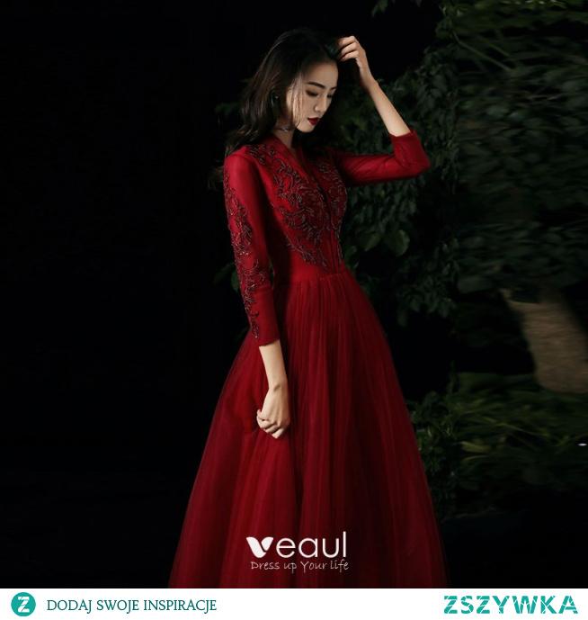Uroczy Czerwone Sukienki Wieczorowe 2021 Princessa V-Szyja Frezowanie Cekiny Z Koronki Kwiat 3/4 Rękawy Długie Wieczorowe Sukienki Wizytowe