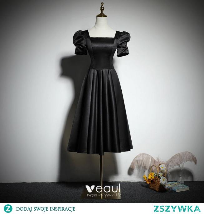 Proste / Simple Czarne Homecoming Sukienki Na Studniówke Krótka Czarna Sukienka 2021 Princessa Kwadratowy Dekolt Kótkie Rękawy Bez Pleców Długość Herbaty Sukienki Wizytowe