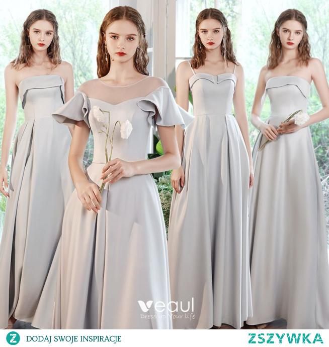 Proste / Simple Szary Satyna Sukienki Dla Druhen 2021 Princessa Kótkie Rękawy Bez Pleców Długie Sukienki Na Wesele