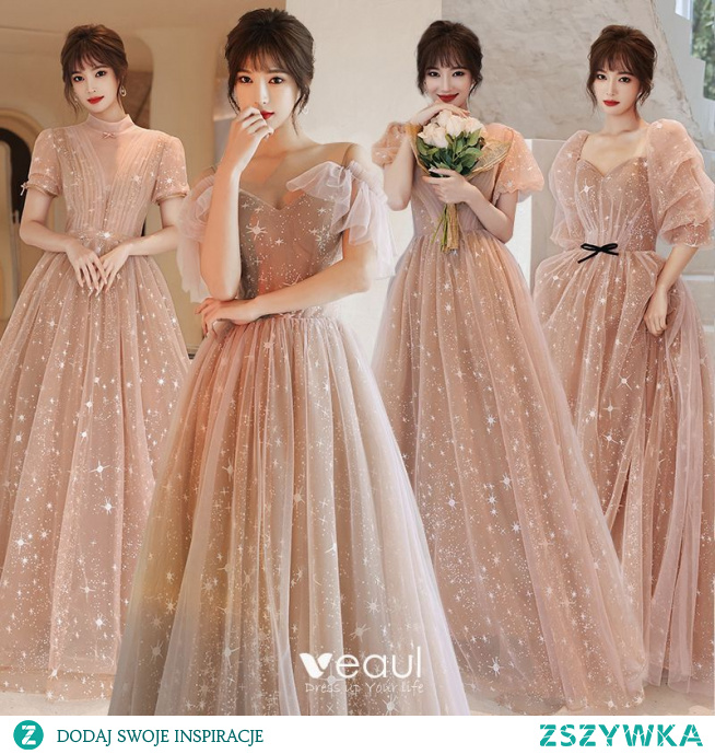 Moda Szampan Sukienki Dla Druhen 2021 Princessa Kwadratowy Dekolt Gwiazda Z Koronki Cekiny Kokarda Kótkie Rękawy Bez Pleców Długie Na Wesele Sukienki Na Wesele