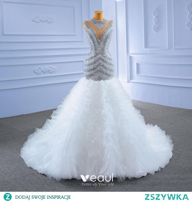 Wysokiej Klasy Białe Cekinami Suknie Ślubne 2021 Syrena / Rozkloszowane Wycięciem Frezowanie Kryształ Cekiny Bez Rękawów Trenem Kaplica Ślub