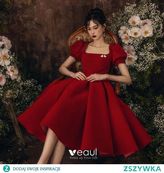 Proste / Simple Burgund Homecoming Sukienki Na Studniówke 2021 Princessa Kwadratowy Dekolt Kótkie Rękawy Bez Pleców Długość Herbaty Sukienki Wizytowe