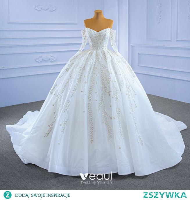 Wysokiej Klasy Białe Suknie Ślubne 2021 Suknia Balowa Przy Ramieniu Frezowanie Cekiny Z Koronki Kwiat Długie Rękawy Bez Pleców Trenem Królewski Ślub