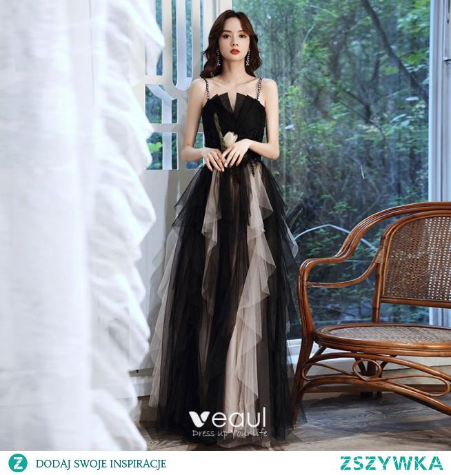 Niedrogie Czarne Wzburzyć Sukienki Na Bal 2021 Princessa Spaghetti Pasy Frezowanie Cekiny Z Koronki Kwiat Bez Rękawów Bez Pleców Długie Bal Sukienki Wizytowe