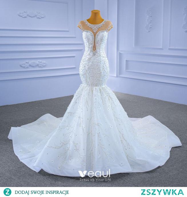 Wysokiej Klasy Białe Suknie Ślubne 2021 Syrena / Rozkloszowane Wycięciem Kryształ Rhinestone Rękawy z Kapturkiem Trenem Katedra Ślub