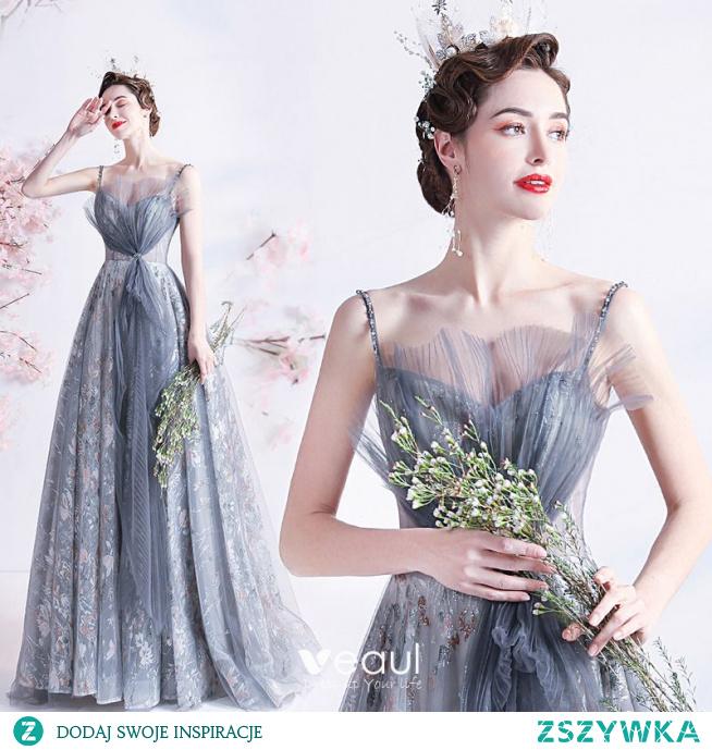 Moda Szary Perła Rhinestone Cekiny Sukienki Na Bal 2021 Princessa Wzburzyć Spaghetti Pasy Bez Rękawów Bez Pleców Długie Bal Sukienki Wizytowe