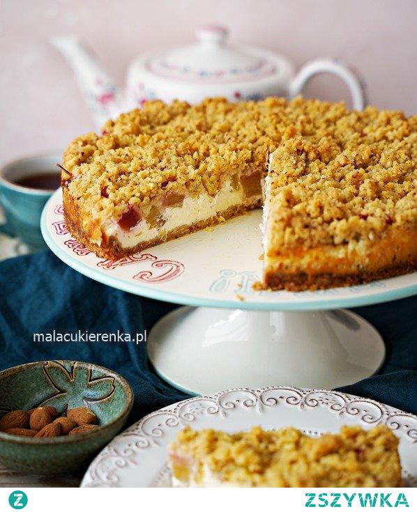 Łatwe serowe ciasto z rabarbarem i kruszonką. Przepis po kliknięciu w zdjęcie.