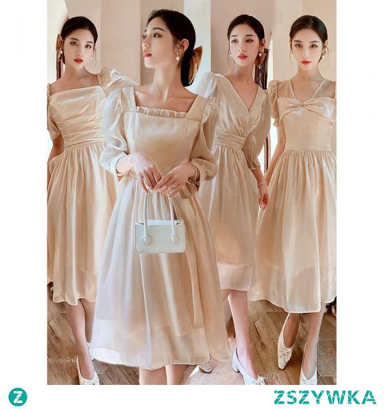 Proste / Simple Szampan Kokarda Sukienki Dla Druhen 2021 Princessa Kótkie Rękawy Długość Herbaty Na Wesele Sukienki Na Wesele