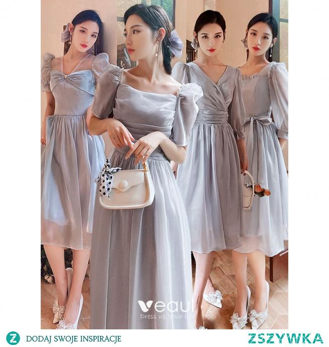 Proste / Simple Szary Sukienki Dla Druhen 2021 Princessa Kótkie Rękawy Kokarda Bez Pleców Długość Herbaty Na Wesele Sukienki Na Wesele