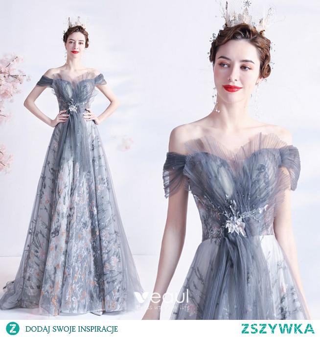 Vintage Szary Sukienki Na Bal 2021 Princessa Przy Ramieniu Frezowanie Kryształ Cekiny Bez Rękawów Bez Pleców Długie Bal Sukienki Wizytowe