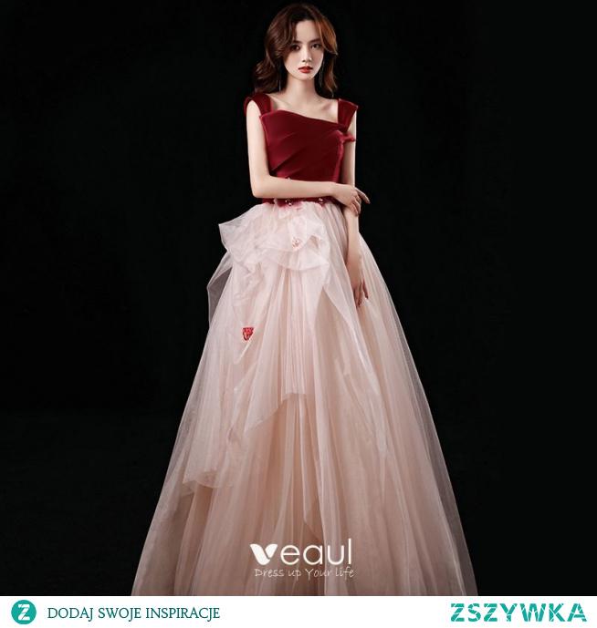Uroczy Burgund Sukienki Na Bal 2021 Princessa Przy Ramieniu Aplikacje Cekiny Bez Rękawów Bez Pleców Kaskadowe Falbany Długie Bal Sukienki Wizytowe