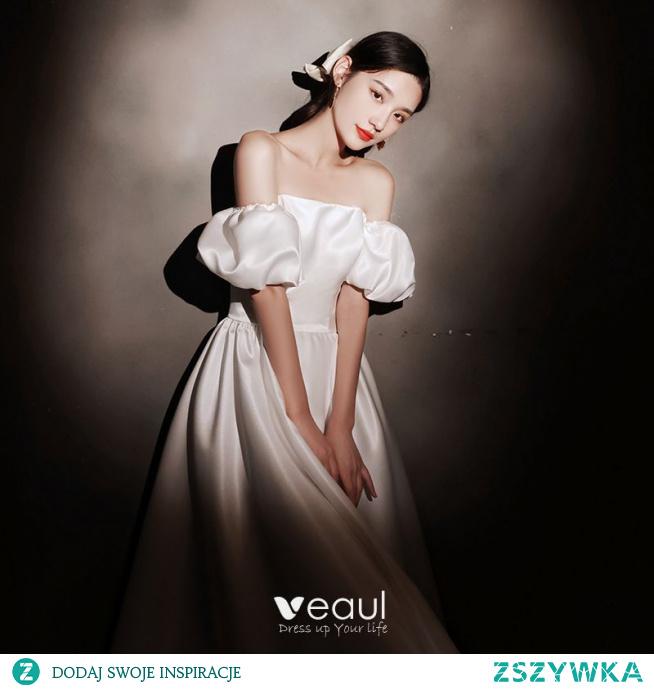 Proste / Simple Kość Słoniowa Satyna Homecoming Sukienki Na Studniówke 2021 Princessa Kwadratowy Dekolt Kótkie Rękawy Bez Pleców Długość Herbaty Sukienki Wizytowe