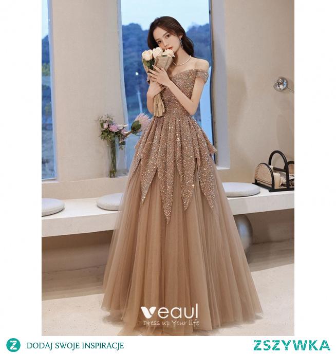 Błyszczące Szampan Frezowanie Cekiny Sukienki Na Bal 2021 Princessa Przy Ramieniu Kótkie Rękawy Bez Pleców Długie Sukienki Wizytowe